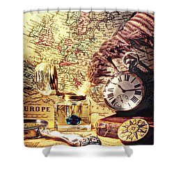 Old Maps And Ink Well Shower Curtain by Garry Gay