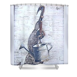 Shower Curtain featuring the painting Old Metal by Natalia Tejera