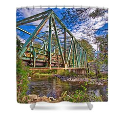Shower Curtain featuring the photograph Old Metal Truss Bridge Newport New Hampshire by Edward Fielding
