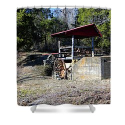 Shower Curtain featuring the photograph Old Mill Of Guilford Pumphouse by Sandi OReilly