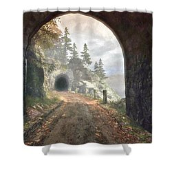 Shower Curtain featuring the digital art Old Mine Road by Kai Saarto