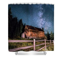 Old Mining Camp Under Milky Way Shower Curtain