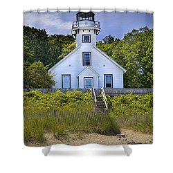 Old Mission Point Lighthouse In Grand Traverse Bay Michigan Number 2 Shower Curtain