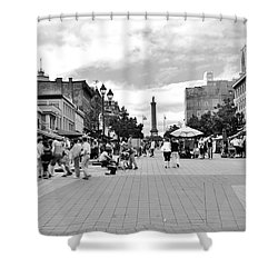 Old Montreal Jacques Cartier Square Shower Curtain