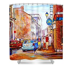 Old Montreal Paintings Calvet House And Restaurants Shower Curtain by Carole Spandau