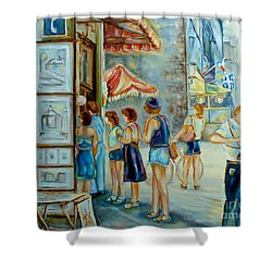 Old Montreal Street Scene Shower Curtain by Carole Spandau