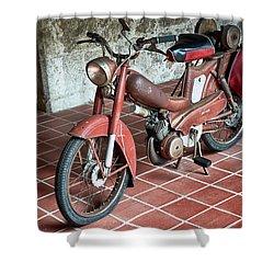 Shower Curtain featuring the photograph Old Motorcycle In The Monastery Of Santo Estevo De Ribas Del Sil by Eduardo Jose Accorinti
