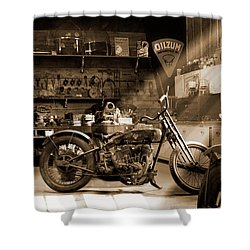 Old Motorcycle Shop Shower Curtain