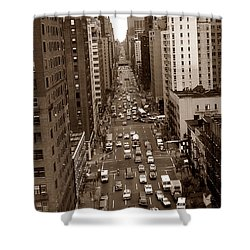 Old New York Photo - 10th Avenue Traffic Shower Curtain