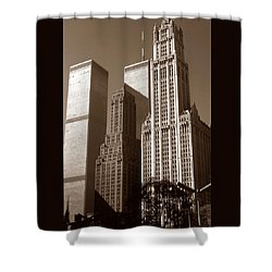 Old New York Photo - Woolworth Building And World Trade Center Shower Curtain