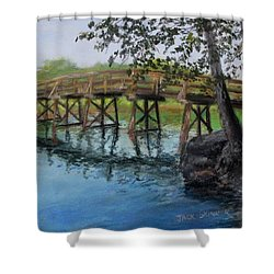 Shower Curtain featuring the painting Old North Bridge In Pastel by Jack Skinner
