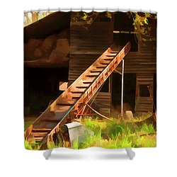 Old North Carolina Barn And Rusty Equipment   Shower Curtain