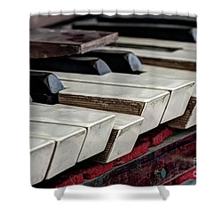 Shower Curtain featuring the photograph Old Organ Keys by Michal Boubin