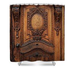 Old Ornamented Wooden Doors Shower Curtain by Jaroslaw Blaminsky