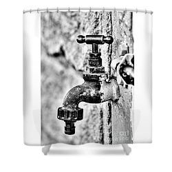 Old Outdoor Tap - Black And White Shower Curtain