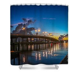 Old Palm City Bridge Shower Curtain