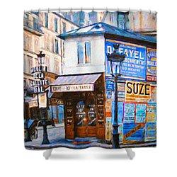 Old Paris Cafe Shower Curtain