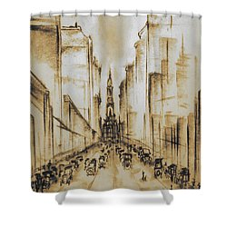 Old Philadelphia City Hall 1920 - Vintage Art Shower Curtain by Art America Gallery Peter Potter