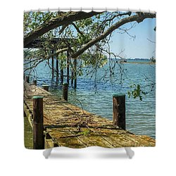 Old Pier On The Tred Avon Shower Curtain