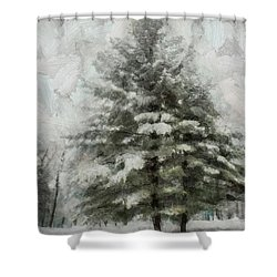 Shower Curtain featuring the mixed media Old Piney by Trish Tritz