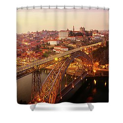 old Porto at  Pink Sunset, Portugal Shower Curtain
