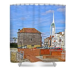 Old Portsmouth Flood Gates Shower Curtain by Terri Waters