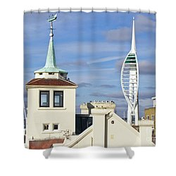 Old Portsmouth's Towers Shower Curtain by Terri Waters