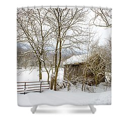 Old Post Office In Snow Shower Curtain