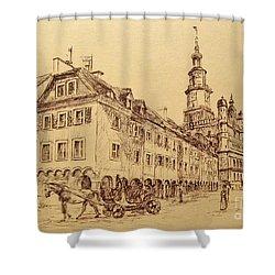 Old Poznan Drawing Shower Curtain