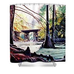 Old Railroad Bridge Shower Curtain