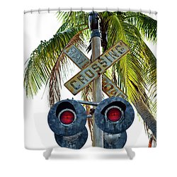 Old Railroad Crossing Sign Shower Curtain