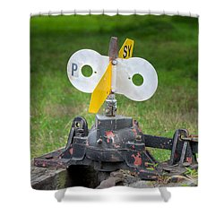 Shower Curtain featuring the photograph Old Railroad Switch In The Grass by Gary Slawsky