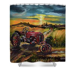 Old Red At Sunset - Tractor Shower Curtain