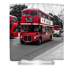 Old Red Bus Bw Shower Curtain