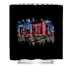 Shower Curtain featuring the photograph Old Red Caboose by Thom Zehrfeld