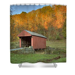 Old Red Or Walkersville Covered Bridge Shower Curtain