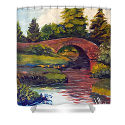 Old Red Stone Bridge Shower Curtain by Jim Phillips