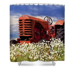 Old Red Tractor Shower Curtain