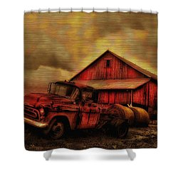 Old Red Truck And Barn Shower Curtain by Bill Cannon