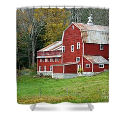 Old Red Vermont Barn Shower Curtain by Edward Fielding