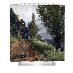 Shower Curtain featuring the digital art Old Road By The Sea by Kai Saarto