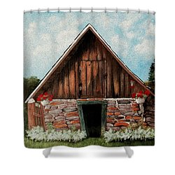 Shower Curtain featuring the painting Old Root House by Anastasiya Malakhova