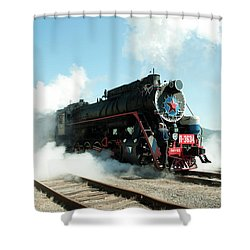 Old Russian Train On Bajkal Shower Curtain by Tamara Sushko