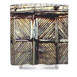 Old Rusted Barn Door Shower Curtain by Merton Allen