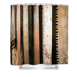 Retired Rusted Saws Shower Curtain by Lexa Harpell