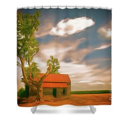 Old Rustic Vintage Farm House And Tree Ap Shower Curtain