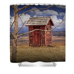 Old Rustic Wooden Outhouse In West Michigan Shower Curtain