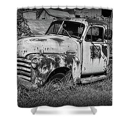 Old Rusty Chevy In Black And White Shower Curtain by Paul Ward