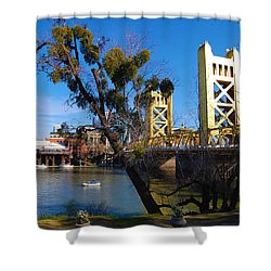 Shower Curtain featuring the photograph Old Sacramento Tower Bridge by Debra Thompson