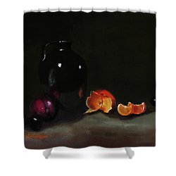 Old Sake Jug And Fruit Shower Curtain by Barry Williamson